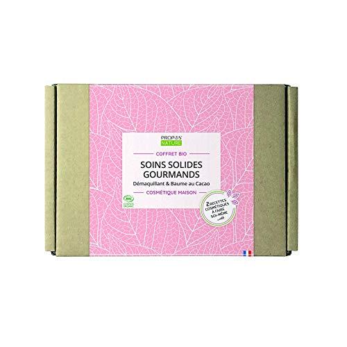 Coffret Bio Soins Solides Gourmands - démaquillant et baume solide - Cosmétique Maison - Coffret Cadeau - PROPOS'NATURE - Kit complet débutant - Fabrication Française - Certifié Cosmos Organic