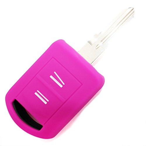 Finest-Folia OA Coque en silicone pour clé de voiture à 2 boutons Rose fluo