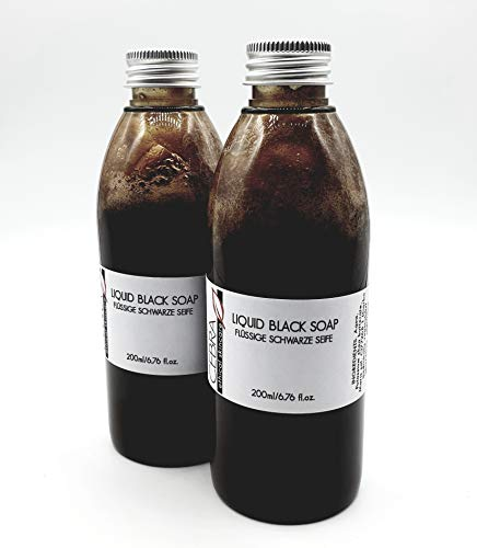 2 Flaschen Cebra ethical skincare afrikanische flüssige schwarze Seife Duschgel Shampoo - vegan - ohne Duftstoffe, 200 ml, palmölfrei