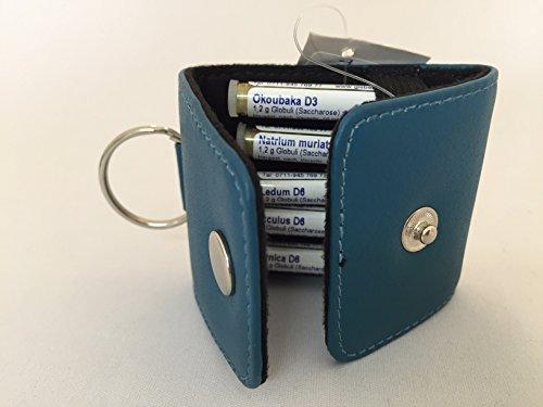 Schlüsselanhänger-Kinder-Taschenapotheke,türkis,-PORTOFREI-,5 Mittel á 1,2g Globuli in UV-Schutzglas-Röhrchen in wertvoller Ledertasche mit Strahlen-Abschirmung