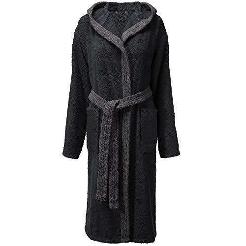 CelinaTex Fehmarn - Albornoz para mujer con capucha de algodón de rizo, talla XS - XL negro, gris M
