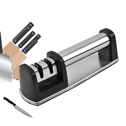 ZXCVBNM Professional 2 Stage Manual Sharpener for Sharpening Kitchen Knives Dual Knife Sharpener with Non-Slip and Ergonomic Design, Portable, Black