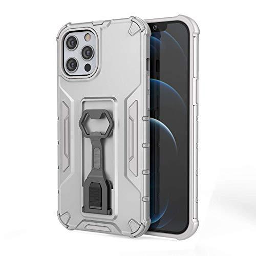 Custodia per iPhone 12 Pro con supporto e funzione leggio, in silicone militare, resistente agli urti, a doppio strato, in policarbonato, con apribottiglie di birra, custodia per iPhone 12 Pro (D)