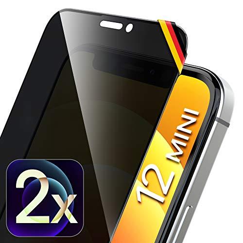 UTECTION 2X Full Screen Privacy Pellicola Protettiva per iPhone 12 Mini (5.4') Applicazione Perfetta Grazie al Telaio, Vetro di Protezione Anti-spion 9H – Protezione Completa Anteriore