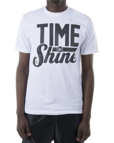 [645486–100] Air Jordania tiempo a Shine camiseta prendas de vestir prendas de vestir aire jordanwhite/Blck - 645486-100, Medium, Blanco