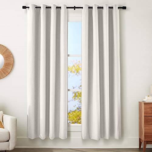 """Amazon Basics 100% Blackout Textured Linen Window Panel with Grommets and Thermal Insulated, Noise Reducing Blackout Liner - 52"""" x 84"""", Ivory"""