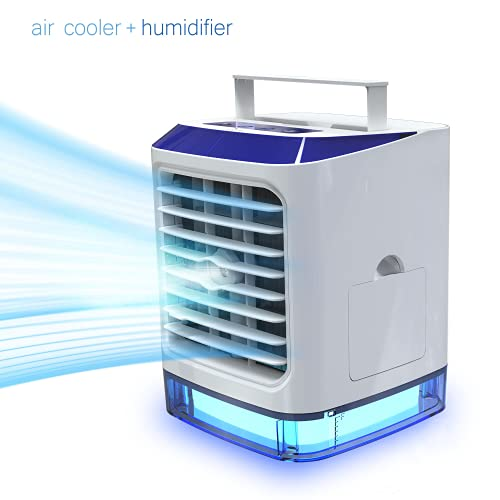 LAZCOZY Portable Air Conditioner Small Evaporative AC Unit with 3 Cooling Speeds Personal Mini Room Cooler with Type-C Input & 7 Colors Night Light Cooling Fan for Bedroom with Humidifier Function
