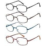 EFE Gafas de Lectura 4 Unidades Gafas para Leer Bisagra de Resorte de Modas Vista de Cerca Clásica Hombre y Mujer (+2.00)