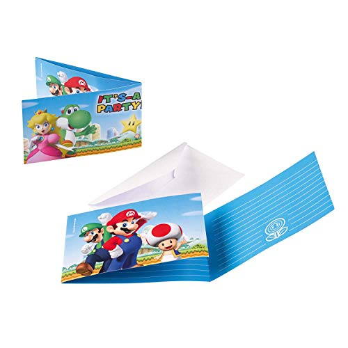 Amscan 9901543 - Einladungskarten Super Mario mit Umschlägen, 8 Stück, Größe 7,9 x 14,1 cm, Kindergeburtstag, Mottoparty
