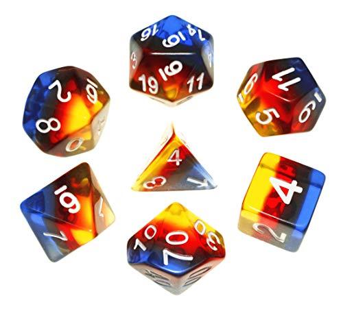 Flexble DND Juego de dados poliédricos RPG dados para mazmorras y dragones (D&D) Pathfinder juego de rol dados MTG 7-Die Dice Sets azul oscuro marrón naranja amarillo 4 colores Aurora Dice