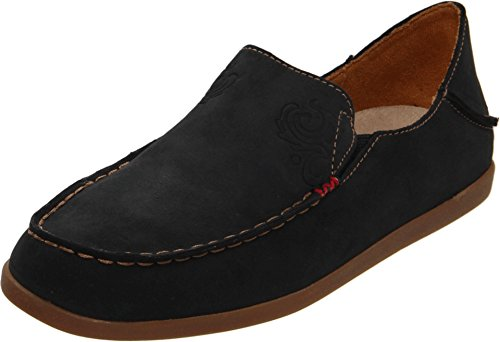 OLUKAI Women's Nohea Nubuck Slip On Shoes, Black/Tan, 7.5
