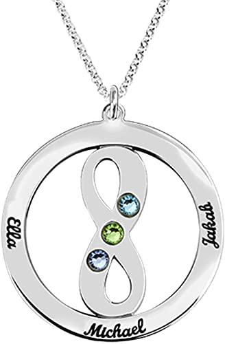 925 plata esterlina YCHZX collar círculo nombre collar colgante joyería personalizada madre amante regalo nombre familia collar 18.0 plata