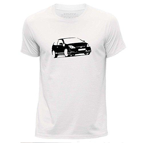 Stuff4 Herren/groß (L)/Weiß/Rundhals T-Shirt/Schablone Auto-Kunst/Civic EP3