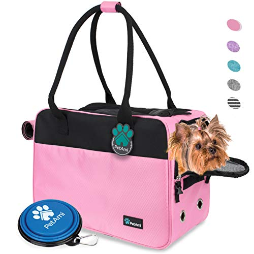 PetAmi Airline Approved Dog Purse Carrier   Soft-Sided Pet Carrier for Small Dog, Cat, Puppy, Kitten   Portable Stylish Pet Travel Handbag   Ventilated Breathable Mesh, Sherpa Bed (Pink)