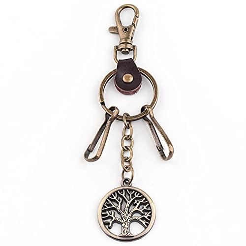 Llavero creativo del coche de la aleación del árbol de la vida llavero mochila colgante decoración