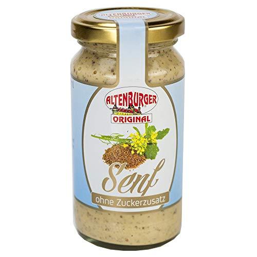 Altenburger Original Senf ohne Zuckerzusatz (200 ml Glas), mittelscharfer, würzig-pikanter Senf zuckerfrei, für Diabetiker geeignet