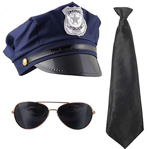 bad taste dieser Style macht geil 80er Kostüm Set Polizei mit Mütze Krawatte und Sonnenbrille für Fasching Karneval Mottoparty Junggesellenabschied