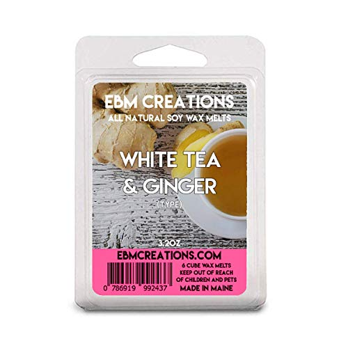 White Tea & Ginger - Scented All Natural Soy Wax Melts - 6 Cube Clamshell 3.2oz Highly Scented!