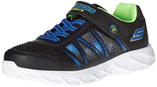 Skechers Jungen Gore & Strap W/qtr Hi Sneaker, Schwarz Nero Kunststoff/Blau, 34 EU