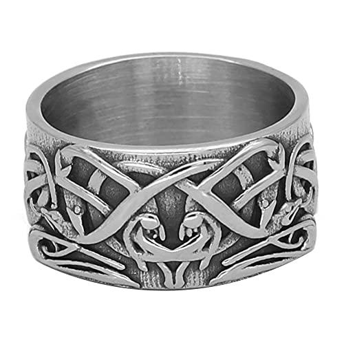 C2Jew Nudo Celta nórdico Anillos Vikingo Tótem de Lobo Amuleto pagano Animal Anillo enredado de Cuervo de Acero Inoxidable,10