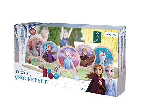 John- Eiskönigin Krocket Spiel Juego Infantil de Crocket de Madera, diseño de Frozen de Disney, Multicolor (41132_FSC)