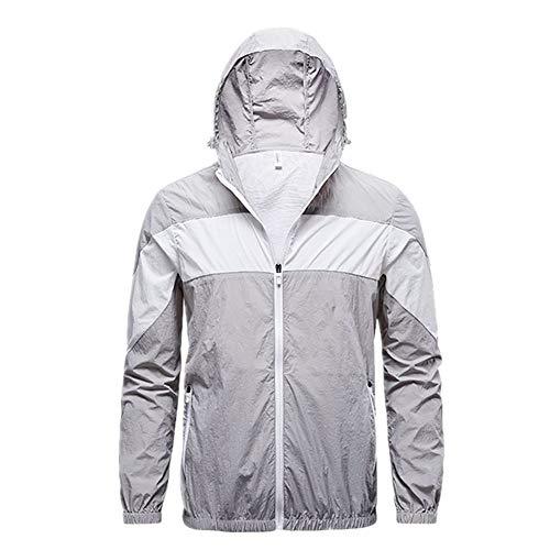 U/A Jacke Herren Damen Fan Jacke Outdoor Klimaanlage Anzug Schnelltrocknend Wanderanzug Gr. L, Gey
