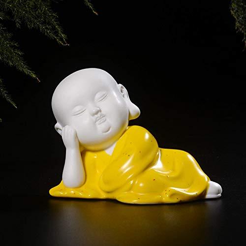 Mianjumj beeld sculptuur, kleine sculptuur, geel van keramiek, China, slapen, weinig monnch, sculptuur van glas, thee, accessoires voor de decoratie van het huis Boeddha Pet