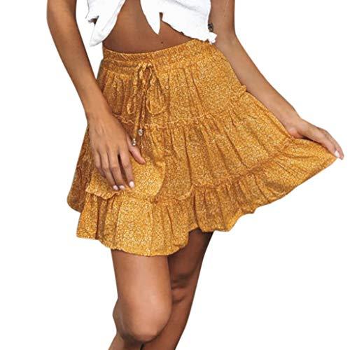 Jupe Courte Femmes Été,ITISME Jupe Femme Grande Taille Casual Bohe Taille Haute de Plage à Imprimé Fleuri Oreille en Bois A-Line Jupe Au-Dessus du Genou