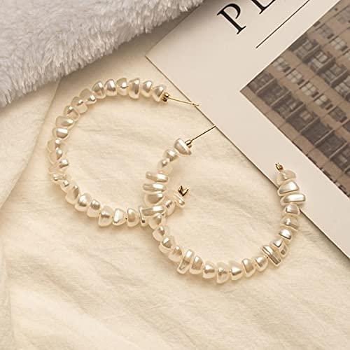 CXWK Pendientes de Perlas de Moda para Mujer Pendientes Colgantes de aro Circular Grande Pendientes de corazón de declaración Coreana Joyería de Tendencia
