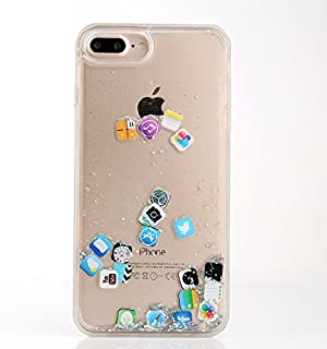 iOS Icons App Liquid Water Flowing Clear Case for iPhone 7Plus 8Plus 7+ 8+ 5.5