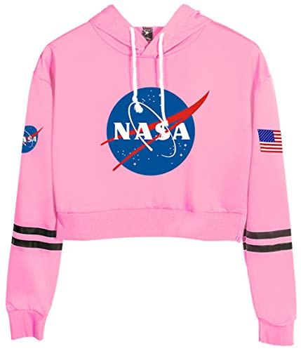 HAOSHENG NASA Crop Top Sweats à Capuche Filles et Femmes Manches Longues Confortable Court Paragraphe Taille Haute Sweat-Shirts(M)