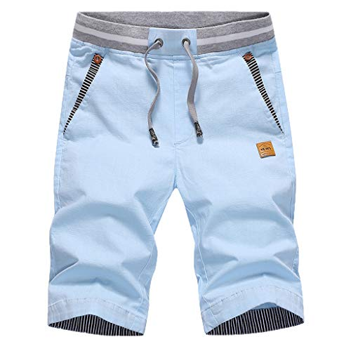 Herren Sweatshorts/Skxinn Männer Sommer Sweat Short Baumwolle Kurze Hose JogginghoseSweatpant Sport Shorts Kordelzug Regular Fit M-4XL Ausverkauf(Himmelblau,4XL)