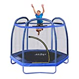 Clevr 7ft Kids Trampoline with Safety Enclosure Net & Spring Pad, Mini Indoor/Outdoor Round Bounce...