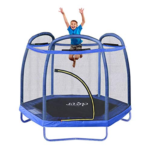 Clevr 7ft Kids Trampoline with Safety Enclosure Net & Spring Pad, Mini Indoor/Outdoor Round Bounce Jumper 84', Built-in Zipper Heavy Duty Steel Frame, Blue | Great Gift for Kids