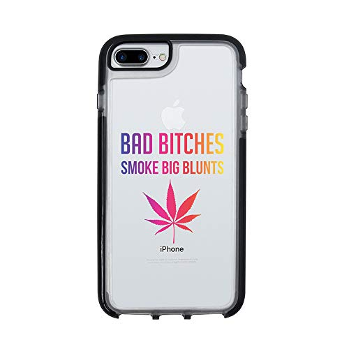 Ultra Slim iPhone Case - Silicone Protective Cover - Compatible for iPhone 8 Plus - Bad Bitches Smoke Big Blunts - Cannabis - Sassy - Marijuana - Cool - Black Flexible Soft TPU Cover Case