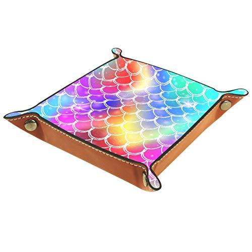 ZORE_FINE5 Bandejas cuadradas de cuero para joyas, juegos de dados con ruedas, bandeja para monedas, caja de almacenamiento plegable de 11,5 cm/4,5 en escamas de pescado rosa azul púrpura acuarela