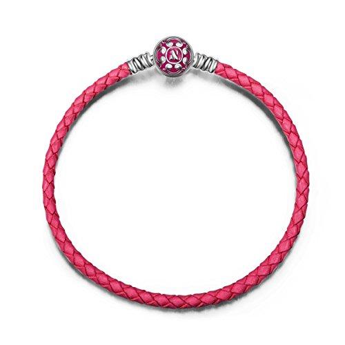 NINAQUEEN Bracelets for Womens fit Pandora Bracelet 19 CM Leather Magenta Women's jewellery best gifts with Jewellery Box 925 Sterling Silver Antibacterial Properties