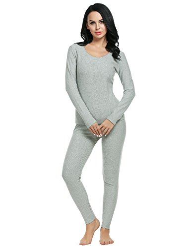 Ekouaer Women's Thermal Long Johns Underwear Base Layer Set Top&Bottom(Gray,Small)