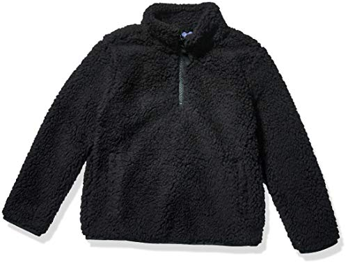 Amazon Essentials Girl's Polar Fleece Lined Sherpa Quarter-Zip Jacket, Black, Large