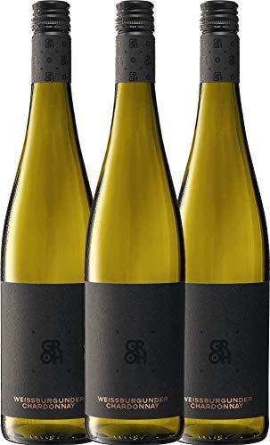 VINELLO 3er Weinpaket Weißwein - Grohsartig Weißburgunder Chardonnay 2019 - Groh mit Weinausgießer | trockener Weißwein | deutscher Sommerwein aus Rheinhessen | 3 x 0,75 Liter