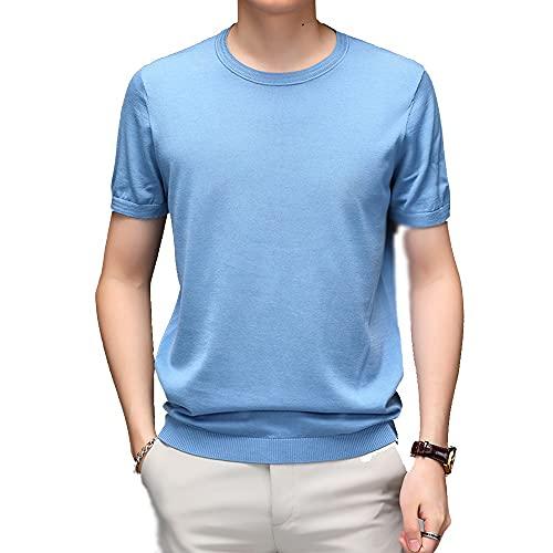 PiaWatch Camiseta De Manga Corta Para Hombre Sun Lion, Chaleco De Mezcla De Algodón Elástico De Seda De Morera Natural, Diseño Simple Informal De Negocios, Transpirable, Adecuado Para El Verano
