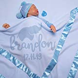 AmazingItems Large Personalized Baby Blanket (Blue)   Cute Elephant   36x36 Inch, Satin Trim, Fleece - Baby Receiving Blankets - Baby Boy and Girl Gifts, Baby Stuff, Newborn Gifts