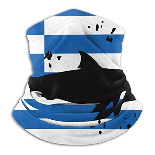 NA Vintage Hai Griechische Flagge Herren Damen Gesichtsmaske Winddicht Halswärmer Winter Halswärmer für Angeln Motorrad