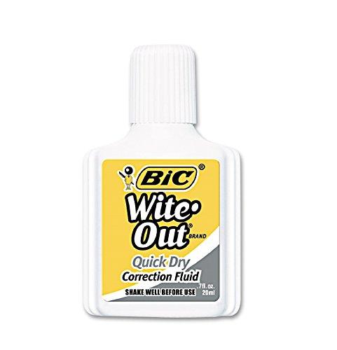 Bic Correction Fluid, Quick Dry Formula, 20ml, White (BICWOFQD12WE)