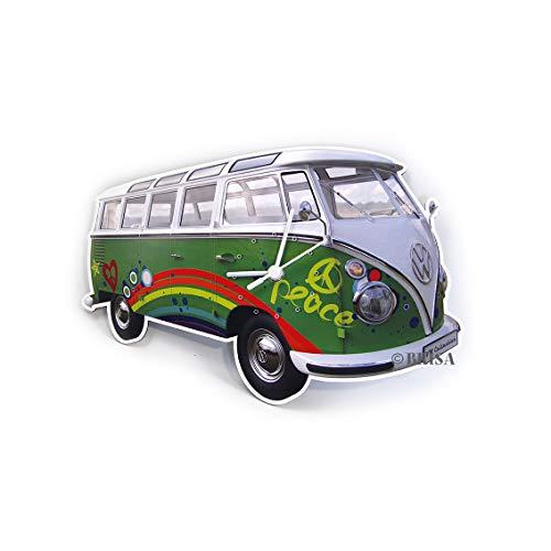 Brisa VW Collection - Volkswagen Hippie Bus T1 Camper Van Orologio 3D da Parete di MDF Senza cifre, Decorazione per Muro Elegante, Elemento Decorativo Vintage Come Idea Regalo (Peace/Verde)
