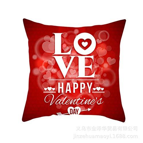 NQING Funda De Almohada De Amor del Día De San Valentín, Funda De Cojín, Funda De Almohada para Sofá De Casa De Boda, Funda De Almohada con Cremallera Invisible Cuadrada General