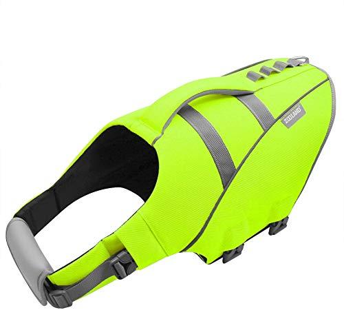 FR&RF Chaleco salvavidas reflectante ajustable con mango de rescate antidesgarros de seguridad salvavidas para natación, piscina, playa, barco, verde, XS