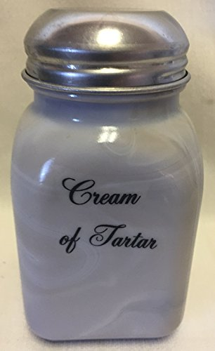 Square Stove Top Spice Shaker Jar - Mosser USA - Gray Swirl Glass (Cream of Tartar)