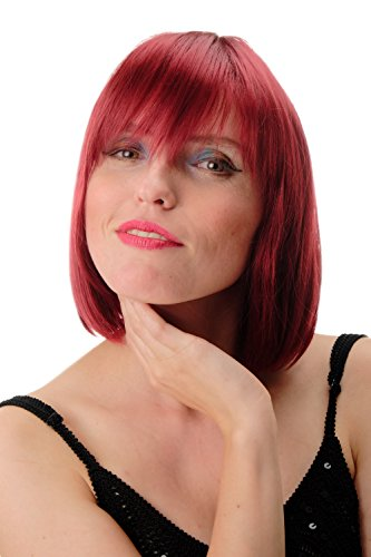 WIG ME UP- GFW78-39 peluca de mujer pelo corto liso Bob largo flequillo rojo granate