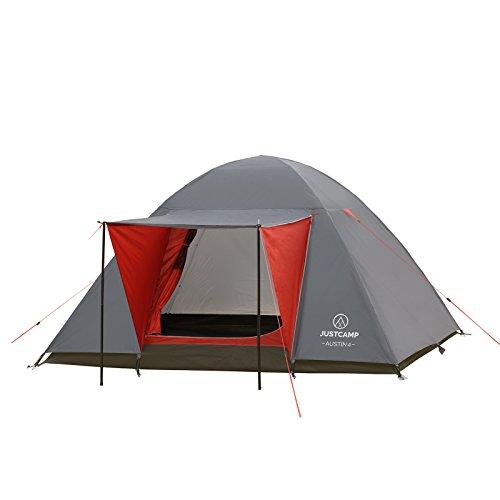 JUSTCAMP Campingzelt Austin 4, Kuppelzelt, Doppelwandig, 4 Personen - grau, Iglu Zelt, Festival, Ausflug, Reise